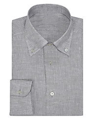 cheap -Pure Gray Linen Button Down Shirt