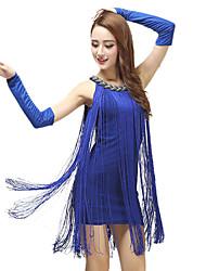 cheap -Women's Flapper Girl Latin Dance Flapper Dress Party Costume Flapper Costume Polyster Black White Royal Blue Dress