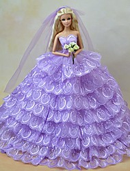 cheap -Doll Dress Party / Evening For Barbiedoll Lace Purple Tulle Lace Cotton Blend Dress For Girl's Doll Toy