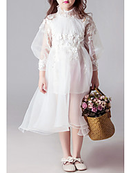 cheap -A-Line Midi Holiday Flower Girl Dresses - Tulle Long Sleeve High Neck with Beading / Appliques