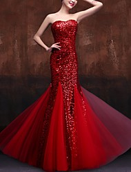 cheap -Mermaid / Trumpet Sweetheart Neckline Floor Length Sequined Dress with Sequin by LAN TING Express