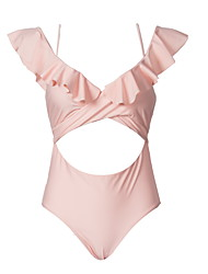 cheap -Women's Basic Blushing Pink Bandeau Cheeky High Waist Bikini Swimwear - Solid Colored Lace up S M L Blushing Pink