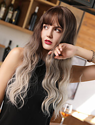 cheap -Synthetic Wig Bangs Curly Water Wave Side Part Neat Bang With Bangs Wig Long Ombre Color Synthetic Hair 24 inch Women's Cosplay Women Synthetic White Dark Brown Gold Blonde Ombre HAIR CUBE