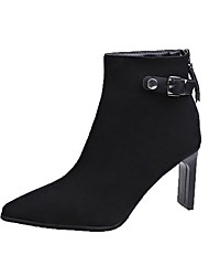 cheap -Women's Boots Block Heel Pointed Toe Rivet Suede Booties / Ankle Boots Casual / Minimalism Spring / Fall & Winter Black / Khaki