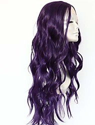 cheap -Synthetic Lace Front Wig Body Wave Middle Part Lace Front Wig Long Dark Purple Synthetic Hair 18-26 inch Women's Heat Resistant Synthetic Easy dressing Purple / Natural Hairline / Natural Hairline