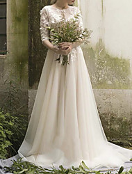 cheap -A-Line Jewel Neck Sweep / Brush Train Tulle Half Sleeve Backless / Illusion Sleeve Wedding Dresses with Beading / Appliques 2020