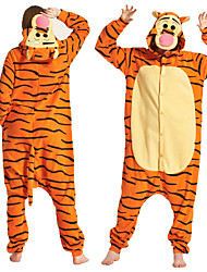 cheap -Adults' Tiger Kigurumi Pajamas Onesie Pajamas Polar Fleece Orange Cosplay For Animal Sleepwear Cartoon Halloween Festival / Holiday / Christmas