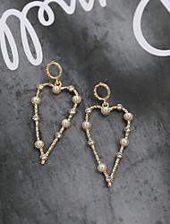 cheap -Women's Drop Earrings Earrings Dangle Earrings Geometrical Sweet Heart Heart Love Simple Dangling Holiday Romantic Cute Imitation Pearl Earrings Jewelry Gold / White For Wedding Gift Daily Street Bar