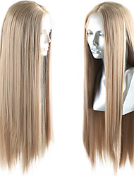 cheap -Synthetic Lace Front Wig Straight Middle Part Lace Front Wig Long Golden Brown / Ash Blonde Synthetic Hair 18-26 inch Women's Life Soft Adjustable Blonde