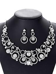 cheap -Women's Crystal Bridal Jewelry Sets Fancy Flower Elegant Earrings Jewelry White For Wedding Party 1 set