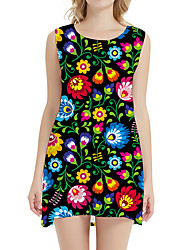 cheap -Women's Day Clutches Street Street chic Sheath Dress - Floral Sun Flower, Print Rainbow XS S M L