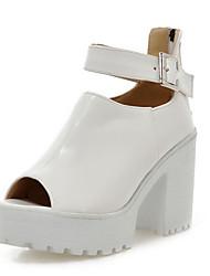 cheap -Women's Heels Chunky Heel Peep Toe Buckle PU Spring & Summer White / Blue / Pink