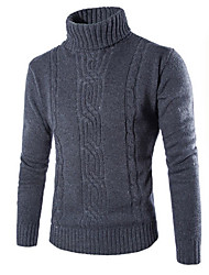 cheap -Men's Solid Colored Long Sleeve Pullover Sweater Jumper, Round Neck Dark Gray / Light gray US32 / UK32 / EU40