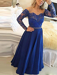 cheap -A-Line Elegant Prom Formal Evening Dress Off Shoulder Long Sleeve Floor Length Lace Satin with Pleats Beading 2021