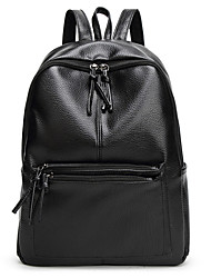 Недорогие -Большая вместимость Кожа PU Полиэстер Молнии рюкзак Сплошной цвет Повседневные Черный / Наступила зима