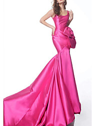 cheap -Mermaid / Trumpet Scoop Neck Sweep / Brush Train Satin Open Back Formal Evening Dress with 2020