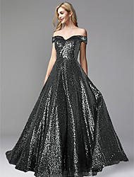 cheap -A-Line Off Shoulder Floor Length Sequined Sparkle & Shine Prom / Formal Evening Dress 2020 with Beading