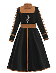 cheap -Kids Girls' Active Sweet Patchwork Long Sleeve Midi Dress Black