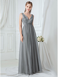 cheap -A-Line V Neck Floor Length Polyester / Tulle Elegant / Vintage Inspired Formal Evening Dress with Appliques 2020