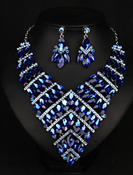 cheap -Women's Clear Blue Red AAA Cubic Zirconia Collar Necklace Chandelier Heart Fashion Elegant Rhinestone Earrings Jewelry Rainbow / White / Blue For Wedding Engagement Holiday 1 set