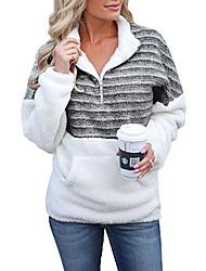 cheap -Women's Striped Patchwork Print Quarter Zip Daily Basic Hoodies Sweatshirts  Black Blue Yellow