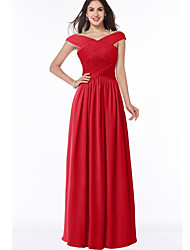 cheap -A-Line Elegant Formal Evening Dress Off Shoulder Short Sleeve Floor Length Chiffon with Pleats Ruched 2020