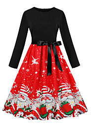 cheap -Dress Christmas Dress Santa Clothes Adults' Women's Dresses Christmas Christmas New Year Festival / Holiday Elastane Red Women's Carnival Costumes Vintage Christmas Printing