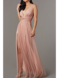 cheap -A-Line Spaghetti Strap Sweep / Brush Train Tulle / Charmeuse Elegant Formal Evening Dress 2020 with Split Front / Pleats