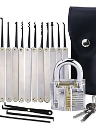 cheap -Transparent Practice Padlock with 12pcs Unlocking Lock Picks Set Key Extractor Tools