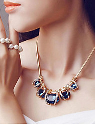 cheap -Women's Sapphire Crystal Statement Necklace Bib Aquarius Ladies European Festival / Holiday Elizabeth Locke Crystal Imitation Diamond Dark Green Blue Necklace Jewelry For Party Special Occasion