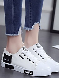 cheap -Women's Sneakers Flat Heel Round Toe Casual Daily Anime Canvas Walking Shoes Summer White Black Pink