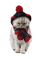 Недорогие -Собаки Коты Инвентарь Орнаменты Шарф для собаки Зима Одежда для собак Черный / Белый Красный + черный Костюм Лабрадор золотистого ретривера Корги Акриловые волокна Однотонный Наколенники Простой стиль