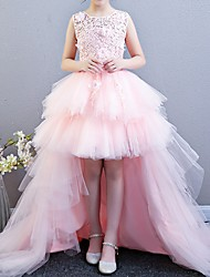 cheap -A-Line Asymmetrical Pageant Flower Girl Dresses - Polyester Sleeveless Scalloped Neckline / Jewel Neck with Appliques