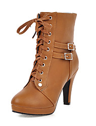 cheap -Women's Boots Stiletto Heel Round Toe PU Booties / Ankle Boots Casual / British Fall & Winter Black / Brown / Almond