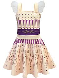 cheap -Kids Girls' Basic Cute Striped Geometric Mesh Sleeveless Knee-length Dress Yellow