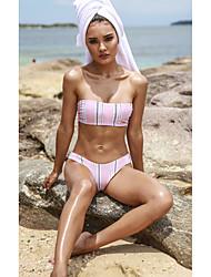 cheap -Women's Basic Blushing Pink Bandeau Cheeky High Waist Bikini Swimwear - Striped Geometric Lace up Print S M L Blushing Pink
