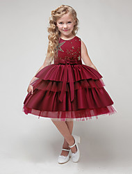 cheap -Kids Girls' Sweet Cute Solid Colored Sequins Bow Embroidered Sleeveless Knee-length Dress Wine