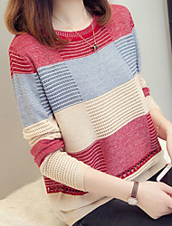 cheap -Women's Striped Long Sleeve Pullover Sweater Jumper, Round Black / Light Brown / Purple One-Size