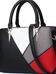 cheap -Women's Zipper PU Top Handle Bag Solid Color Black / Wine / Purple