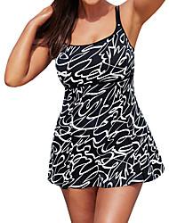 cheap -Women's Plus Size Black Halter Cheeky One-piece Swimwear - Polka Dot Print XL XXL XXXL Black