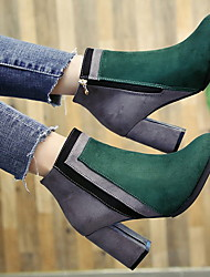 cheap -Women's Boots Chunky Heel Round Toe PU Booties / Ankle Boots Winter Black / Green