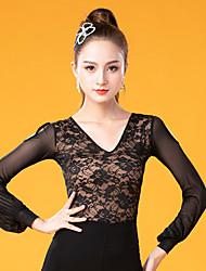 cheap -Ballroom Dance Tops Women's Performance Ice Silk Lace / Ruching Long Sleeve Top