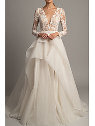 cheap -A-Line V Neck Court Train Lace / Tulle Long Sleeve Romantic / Sexy Backless / Illusion Sleeve Wedding Dresses with Embroidery 2020