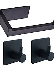 cheap -3M Strong Viscosity Adhesive Sticker Bathroom Accessories Set Towel Hook Tissue Holder High-strength Nail-free Sticker Matte Black Brushed Finished Towel Holder Rack 2pcs Robe Hook 1 Paper Holder F3