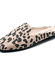 cheap -Women's Slippers & Flip-Flops Flat Heel Square Toe Satin Casual / Minimalism Spring & Summer / Fall & Winter Brown / Almond / Pink / Leopard