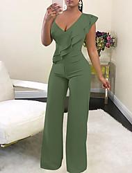 cheap -Women's Black White Green Jumpsuit Onesie, Solid Colored S M L
