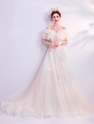 cheap -A-Line Off Shoulder Chapel Train Tulle Floral / White Engagement / Formal Evening Dress with Appliques 2020