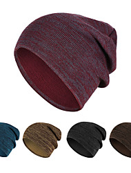 cheap -Skull Caps Running Beanie Men's Women's Solid Colored Headwear Thermal / Warm Windproof Breathable for Running Fitness Jogging Sweater Autumn / Fall Spring Winter Dark Grey Yellow Burgundy
