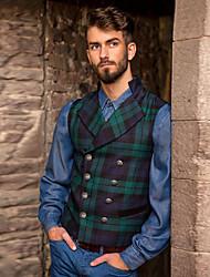 cheap -Men's Vest, Plaid Shirt Collar Polyester Green