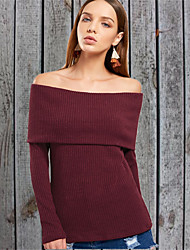cheap -Women's Solid Colored Long Sleeve Pullover Sweater Jumper, Off Shoulder Black / Wine / White S / M / L